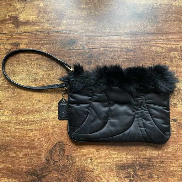 Small Coach Wristlet with Fur in Black
